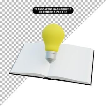 Illustrazione 3d semplice libro di oggetti con lampadina