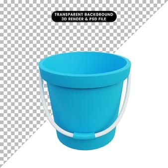Secchio di oggetti semplici illustrazione 3d