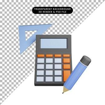 Illustrazione 3d di un semplice calcolatore di oggetti con matita e righello