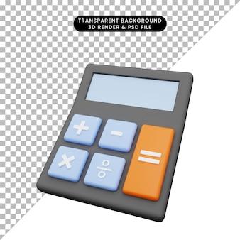 Illustrazione 3d di un semplice calcolatore di oggetti