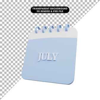 Illustrazione 3d di un semplice oggetto calendario mese luglio