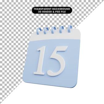 Illustrazione 3d del numero di calendario oggetto semplice 15