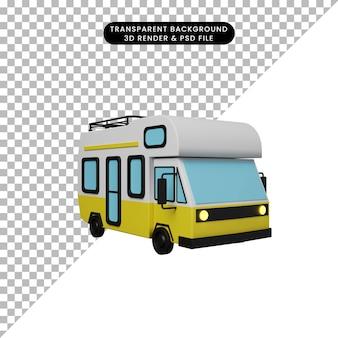 Illustrazione 3d di un semplice oggetto camper