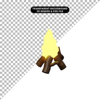 Illustrazione 3d di un semplice falò oggetto