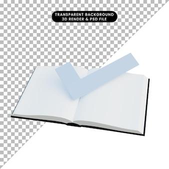 Illustrazione 3d semplice elenco di controllo degli oggetti libro 3