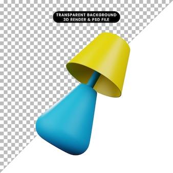 Illustrazione 3d di una semplice lampada da tavolo oggetto