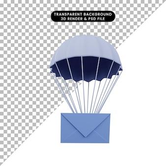 Illustrazione 3d della busta di un oggetto semplice con paracadute