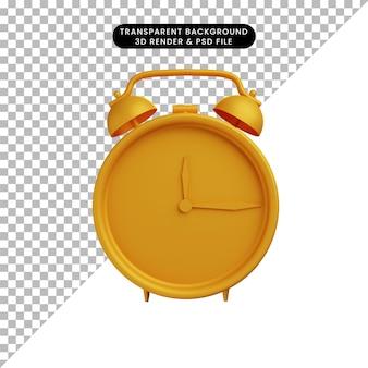 Illustrazione 3d di un semplice oggetto di allarme dorato