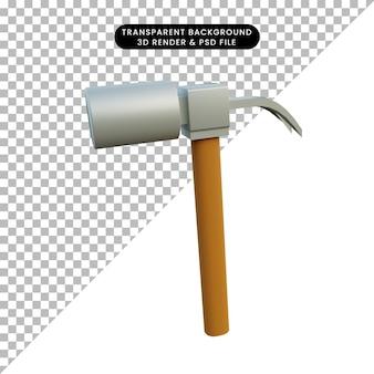 Illustrazione 3d semplice oggetto martello