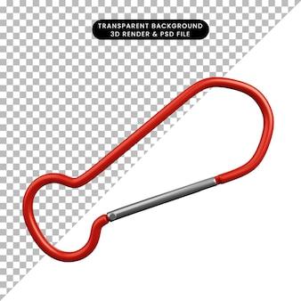 Illustrazione 3d di un semplice oggetto da scalare con il gancio