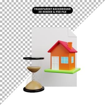 Illustrazione 3d di una semplice casa di oggetti con orologio di sabbia