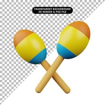 Illustrazione 3d di maracas di strumento musicale semplice oggetto