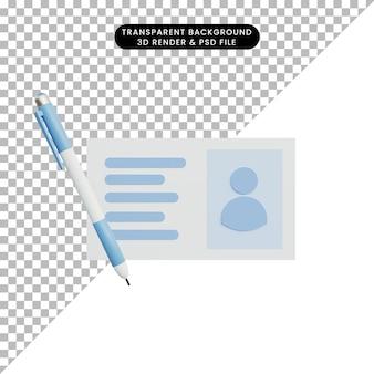 3d illustrazione semplice etichetta nome oggetto e penna a sfera