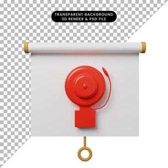Illustrazione 3d della vista frontale della scheda di presentazione dell'oggetto semplice con emergenza di allarme
