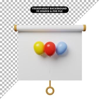 Illustrazione 3d della vista frontale della scheda di presentazione degli oggetti semplice con palloncino