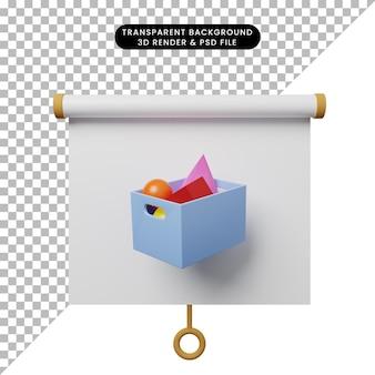 Illustrazione 3d della vista frontale del pannello di presentazione degli oggetti semplice con cestino