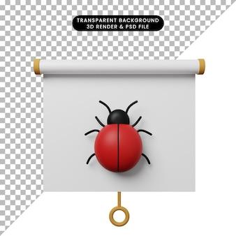 Illustrazione 3d della vista frontale della scheda di presentazione degli oggetti semplice con bug