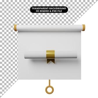 Illustrazione 3d della vista frontale della scheda di presentazione degli oggetti semplice con certificato