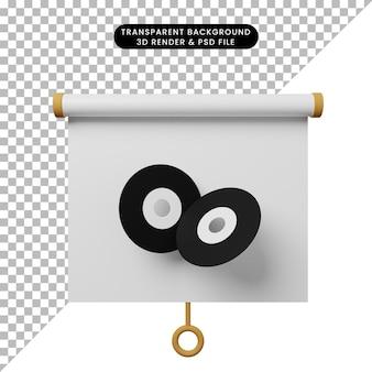 Illustrazione 3d della vista frontale della scheda di presentazione degli oggetti semplice con disco