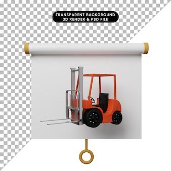 Illustrazione 3d della vista frontale del pannello di presentazione degli oggetti semplice con carrello elevatore