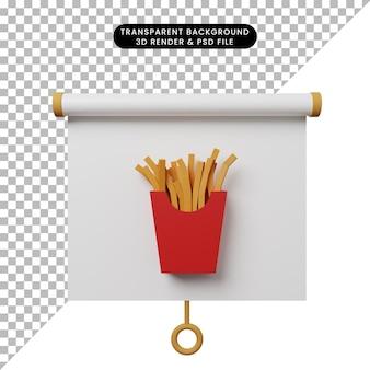 Illustrazione 3d della vista frontale del pannello di presentazione degli oggetti semplice con patatine fritte