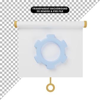 Illustrazione 3d della vista frontale del pannello di presentazione degli oggetti semplice con ingranaggio