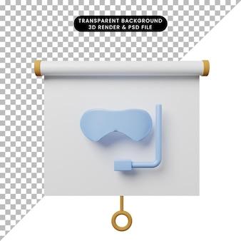 Illustrazione 3d della vista frontale del pannello di presentazione degli oggetti semplice con gli occhiali