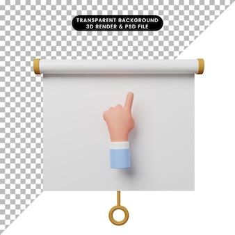 Illustrazione 3d della vista frontale del pannello di presentazione degli oggetti semplice con le mani che puntano