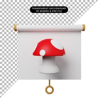 Illustrazione 3d della vista frontale del pannello di presentazione degli oggetti semplice con il fungo