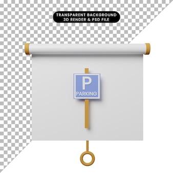 Illustrazione 3d della vista frontale del pannello di presentazione degli oggetti semplice con il segnale di parcheggio