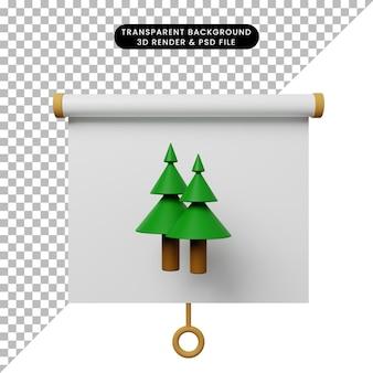 Illustrazione 3d della vista frontale del pannello di presentazione degli oggetti semplice con l'albero di pino