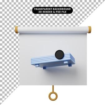 Illustrazione 3d della vista frontale della scheda di presentazione degli oggetti semplice con proiettore