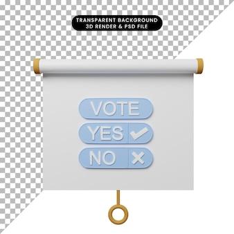 Illustrazione 3d della vista frontale della scheda di presentazione degli oggetti semplice con voto
