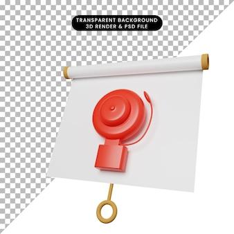 Illustrazione 3d di una semplice scheda di presentazione di oggetti vista leggermente inclinata con allarme di emergenza