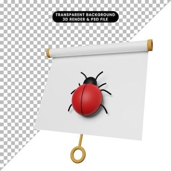 Illustrazione 3d di una semplice scheda di presentazione di oggetti vista leggermente inclinata con bug