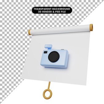 Illustrazione 3d di una semplice scheda di presentazione di oggetti vista leggermente inclinata con fotocamera