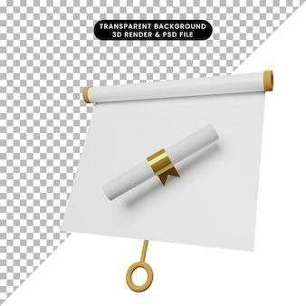Illustrazione 3d di una semplice scheda di presentazione di oggetti vista leggermente inclinata con certificato