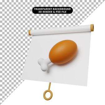 Illustrazione 3d di una semplice scheda di presentazione di oggetti vista leggermente inclinata con carne di pollo