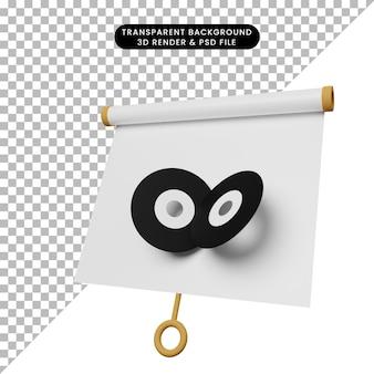 Illustrazione 3d di una semplice scheda di presentazione di oggetti vista leggermente inclinata con disco