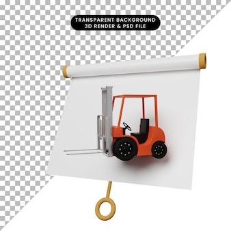 Illustrazione 3d di una semplice scheda di presentazione di oggetti vista leggermente inclinata con carrello elevatore