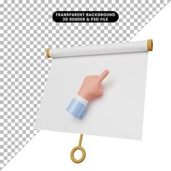 Illustrazione 3d di una semplice scheda di presentazione dell'oggetto vista leggermente inclinata con la mano puntata