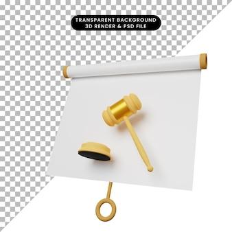 Illustrazione 3d di una semplice scheda di presentazione di oggetti vista leggermente inclinata con martello giudice