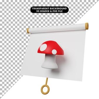 Illustrazione 3d di una semplice scheda di presentazione di oggetti vista leggermente inclinata con fungo