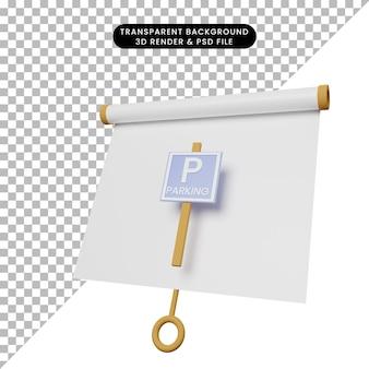 Illustrazione 3d di una semplice scheda di presentazione di oggetti vista leggermente inclinata con cartello di parcheggio