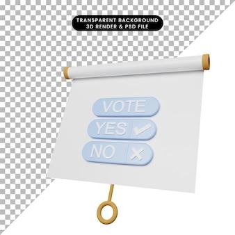 Illustrazione 3d di una semplice scheda di presentazione di oggetti vista leggermente inclinata con voto