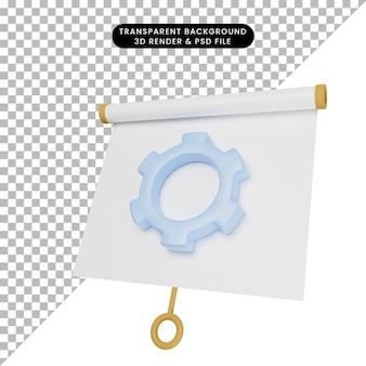 Illustrazione 3d di una semplice scheda di presentazione di oggetti leggermente inclinata con ingranaggio