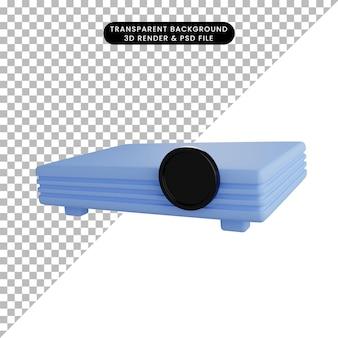 Illustrazione 3d di un semplice proiettore di oggetti