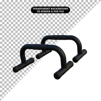 Illustrazione 3d semplice oggetto push up bar