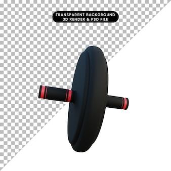 Illustrazione 3d semplice oggetto push up roll pneumatico