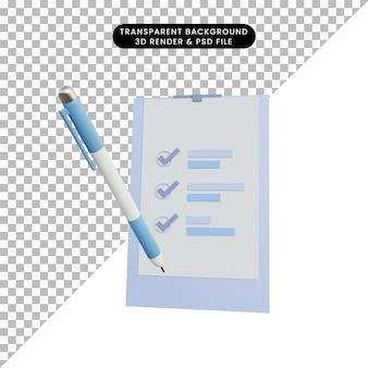 Dati del report di oggetti semplici dell'illustrazione 3d